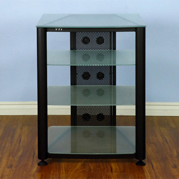 VTI RGR404BF - 4 Shelf Audio Rack with Black frame and Frosted Glass.