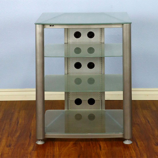 VTI RGR404SF - 4 Shelf Audio Rack with Gray Silver frame and Frosted Glass.