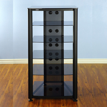 VTI RGR406BB - 6 Shelf Audio Rack with Black frame and Black Glass.