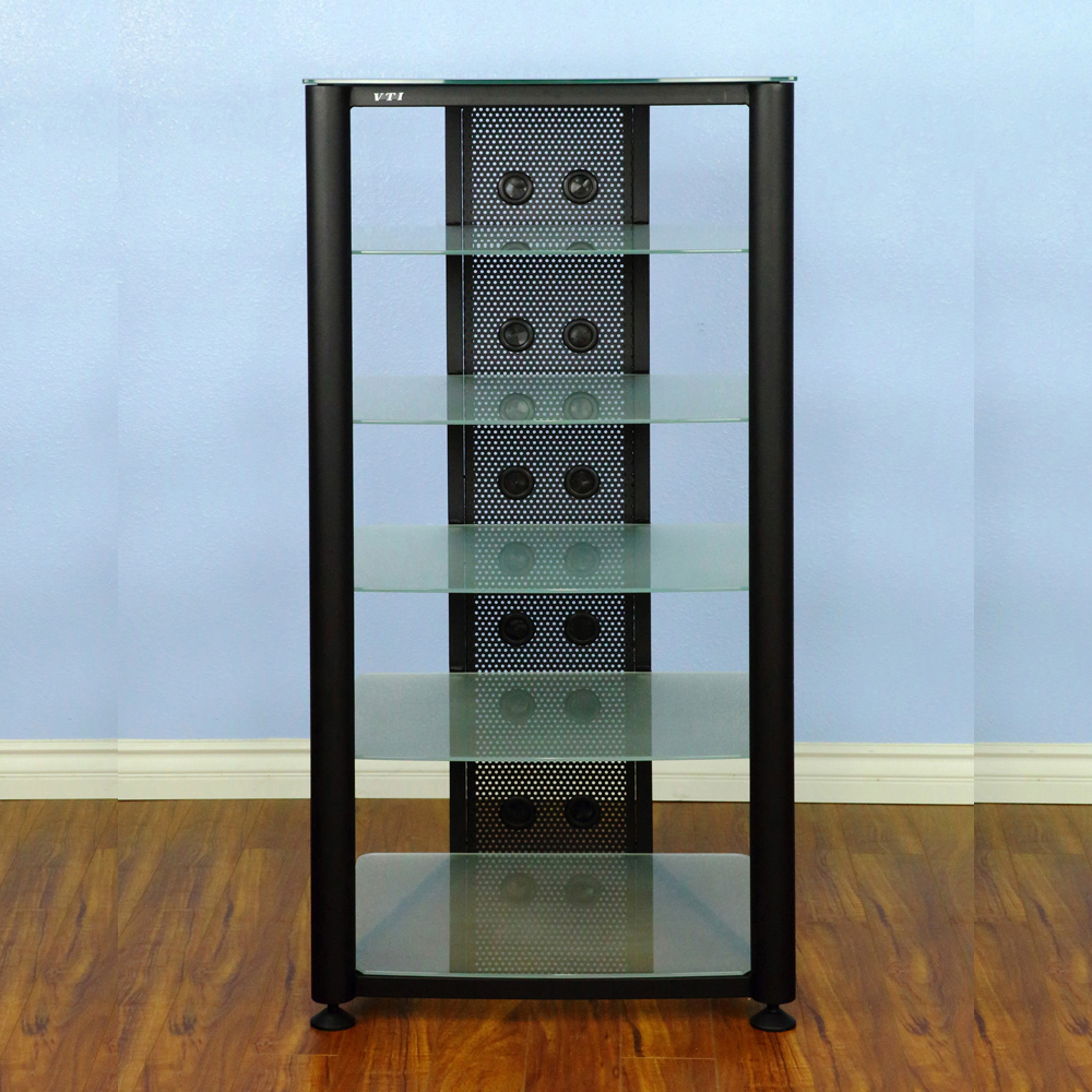 Vti Rgr406bf 6 Shelf Audio Rack With Black Frame And