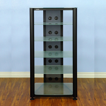 VTI RGR406BF - 6 Shelf Audio Rack with Black frame and Frosted Glass.