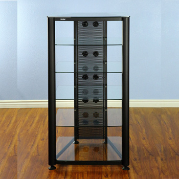 VTI RGR406BW - 6 Shelf Audio Rack with Black frame and Clear Glass.