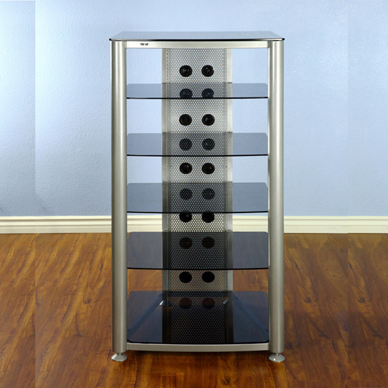 VTI RGR406SB - 6 Shelf Audio Rack with Gray Silver frame and Black Glass.