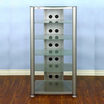 VTI RGR406SF - 6 Shelf Audio Rack with Gray Silver frame and Frosted Glass.