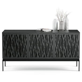 "BDI Elements 8777-CO Audio Cabinet TV Stand up to 70"" TV's in Charcoal Stained Ash color and Wheat Patterns doors."
