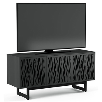 "BDI Elements 8777-ME Audio Cabinet TV Stand up to 70"" TV's in Charcoal Stained Ash color and Wheat Patterns doors."