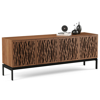 "BDI Elements 8779-CO Audio Cabinet TV Stand up to 85"" TV's in Natural Walnut color and Wheat Patterns doors."