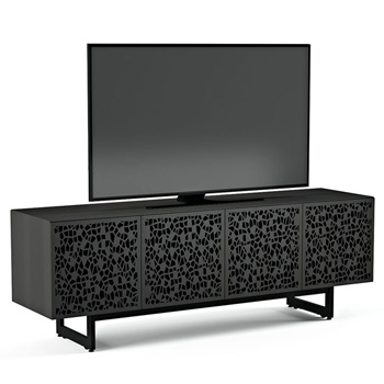 "BDI Elements 8779-ME Audio Cabinet TV Stand up to 85"" TV's in Charcoal Stained Ash color and Mosaic Patterns doors."