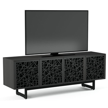 "BDI Elements 8779-ME Audio Cabinet TV Stand up to 85"" TV's in Charcoal Stained Ash color and Ricochet Patterns doors."