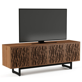 "BDI Elements 8779-ME Audio Cabinet TV Stand up to 85"" TV's in Natural Walnut color and Wheat Patterns doors."