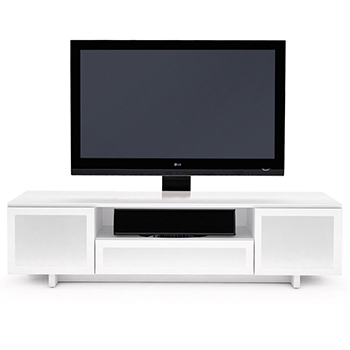 "BDI Nora 8239 TV Stand up to 82"" Flat Panel TVs in Gloss White color."