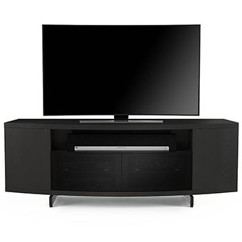 "BDI Sweep 8438 TV Stand up to 84"" Flat Panel TVs in Charcoal Stained Ash color. BDI-Sweep-8438-charcoal"