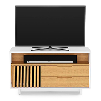"BDI Vertica 8556 TV Stand up to 60"" Flat Panel TVs in Satin White / White Oak Color. BDI-Vertica-8556-White"