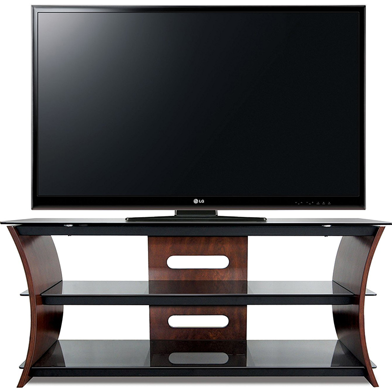 Bello Cw356 Curved Wood Tv Stand Up To 60 Tvs In Rich Caramel Brown