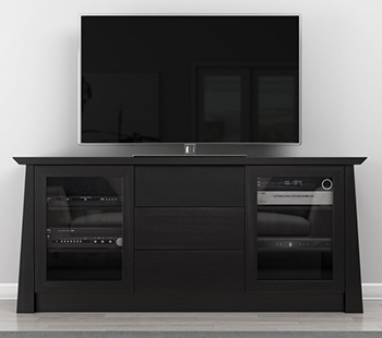 "Furnitech FORMOSO Contemporary TV Stand Media Console up to 80"" TV'S In Ebony Cherry Wood Finish."