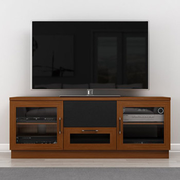 "Furnitech FT60CCLC Contemporary TV Stand Media Console Up to 65"" TV'S In Light Cherry Finish."