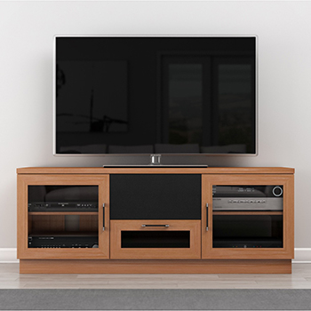 "FURNITECH FT60CCNC TV STAND MEDIA CONSOLE UP TO 65"" TV'S IN NATURAL CHERRY FINISH. furnitech-ft60CCNC"