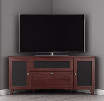 "Furnitech FT61SCCDC Shakers Corner TV Stand up to 65"" TV'S In Dark Cherry Finish."