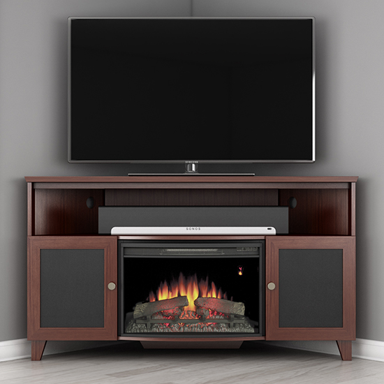 Tv Stand Console, Dark Cherry Wood Fireplace Tv Stand