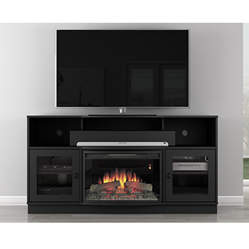 "Furnitech FT64CFB – 64"" Contemporary TV Console with 25"" Curved Fireplace in Matt Black. Furnitech-FT64CFB"