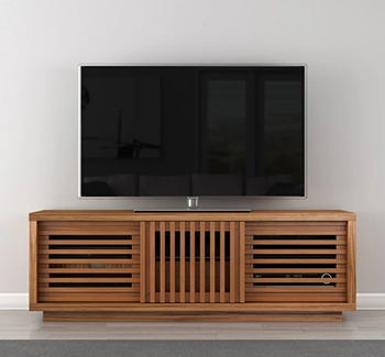 "Furnitech FT64WS Oak Case Honey TV Stand Media Console up to 70"" TV'S in Warm Honey Finish"