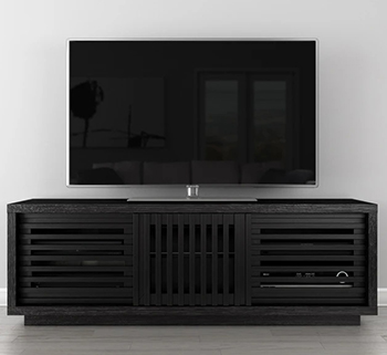 "Furnitech FT64WSEB Contemporary Rustic TV Stand Media Console up to 70"" TV'S in Black American Oak Finish."
