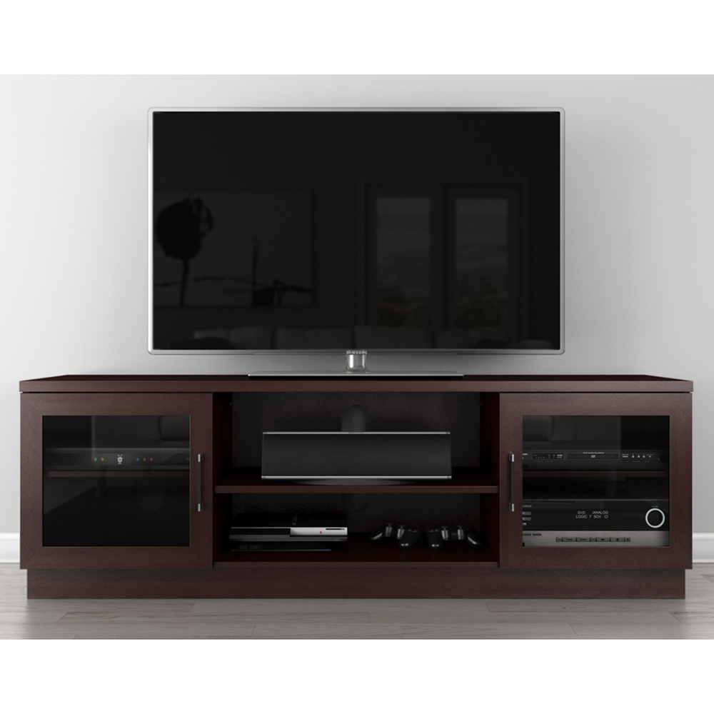 Furnitech ft70ccw contemporary tv stand media console up to 80 tvs in warm wenge finish