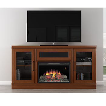 "Furnitech FT70TRFB – 70"" Transitional TV Console with 25"" Electrical Fireplace in Light Cherry & Wenge. Furnitech-FT70TRFB"