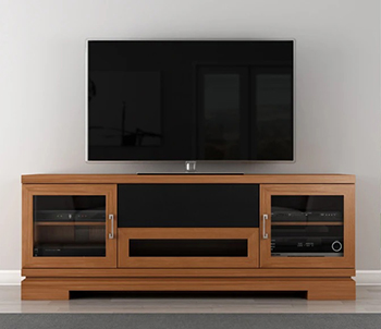"Furnitech FT70TT TV Stand Media Console up to 80"" TV'S in American Cherry Hardwood Finish."