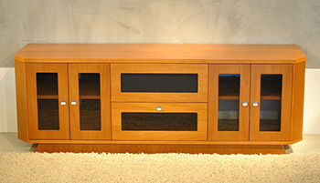 "Furnitech FT71CRCLC Transitional TV Stand Media Console up to 80"" TV'S in Light Cherry Finish."