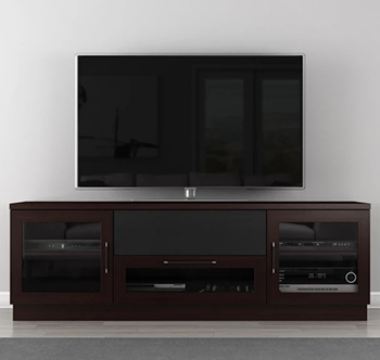 "Furnitech FT72CCW Contemporary TV Stand Media Console up to 80"" TV'S in Dark Brown (Wenge) Finish."