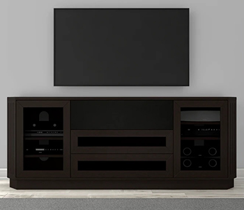 Furnitech FT78CL 78 Inch Transitional TV Stand Media Console In a Dark Brown Wenge Finish.