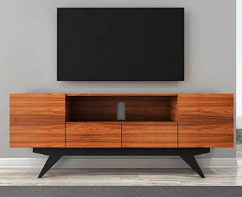 "Furnitech FT78PF TV Stand up to 90"" TV's in Brazilian Cherry finish with black matte finish legs."