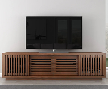 "Furnitech FT82WS Contemporary TV Stand Console up to 90"" TVs in Warm Honey Oak Finish."