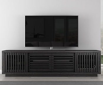 "Furnitech FT82WSEB Contemporary TV Stand Media Console up to 90"" TV'S in Ebony Oak Finish."