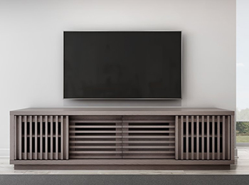 "Furnitech Signature Home FT82WSG TV Stand Media Console up to 90"" TV'S in Coastal Grey Oak Finish."