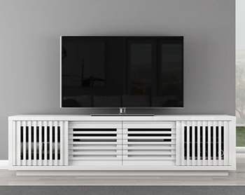 "Furnitech FT82WSLW Contemporary TV Stand Console up to 90"" TVs in White Lacquer Finish."