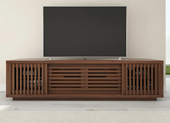 "Furnitech FT82WSW Contemporary TV Stand Media Console up to 90"" TV'S in American Walnut Finish."