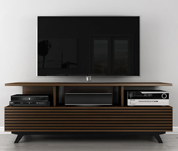 "Furnitech TANGO-AV Mid-Century Modern TV Stand Media Console Up to 80"" TV'S In Cherry Wood Cognac Finish."