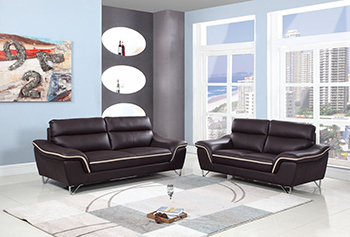 Global United Furniture 168 Leather Match 2PC Sofa Set in Brown color.