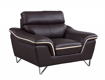 Global United 168 - Leather Match Chair in Brown color.