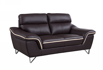 Global United 168 - Leather Match Loveseat in Brown color.