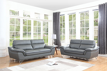 Global United Furniture 168 Leather Match 2PC Sofa Set in Gray color.