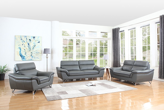 Global United Furniture 168 Leather Match 3PC Sofa Set in Gray color.