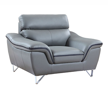 Global United 168 - Leather Match Chair in Gray color.
