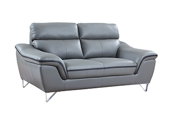 Global United 168 - Leather Match Loveseat in Gray color.