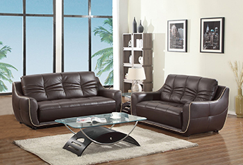 Global United Furniture 2088 Leather Match 2PC Sofa Set in Brown color.