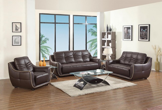 Global United Furniture 2088 Leather Match 3PC Sofa Set in Brown color.