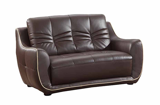 Global United 2088 - Leather Match Loveseat in Brown color.