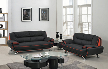 Global United Furniture 405 Leather Match 2PC Sofa Set in Black color.